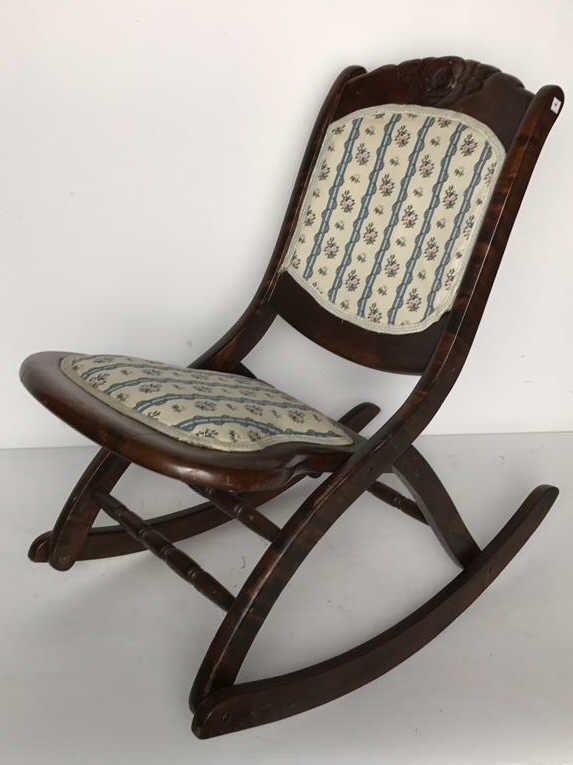 Vintage Collapsable Carved Rocking Chair - 3