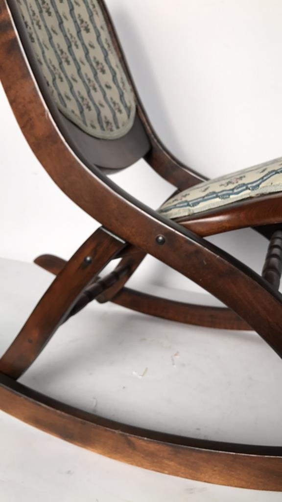 Vintage Collapsable Carved Rocking Chair - 6
