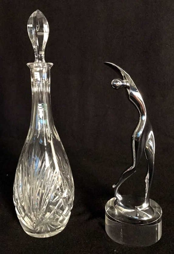 Group Lot Crystal Decanter & Abstract Art