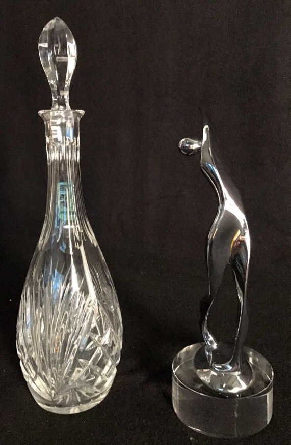 Group Lot Crystal Decanter & Abstract Art - 7