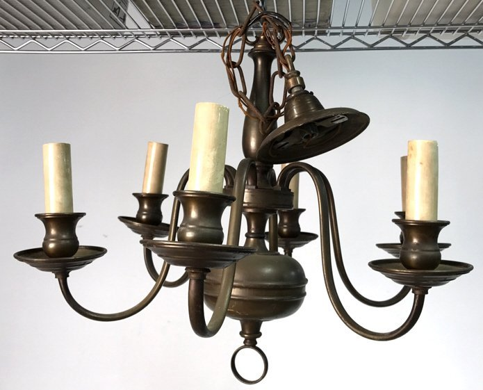 Vintage Six Arm Brushed Bronze Chandelier