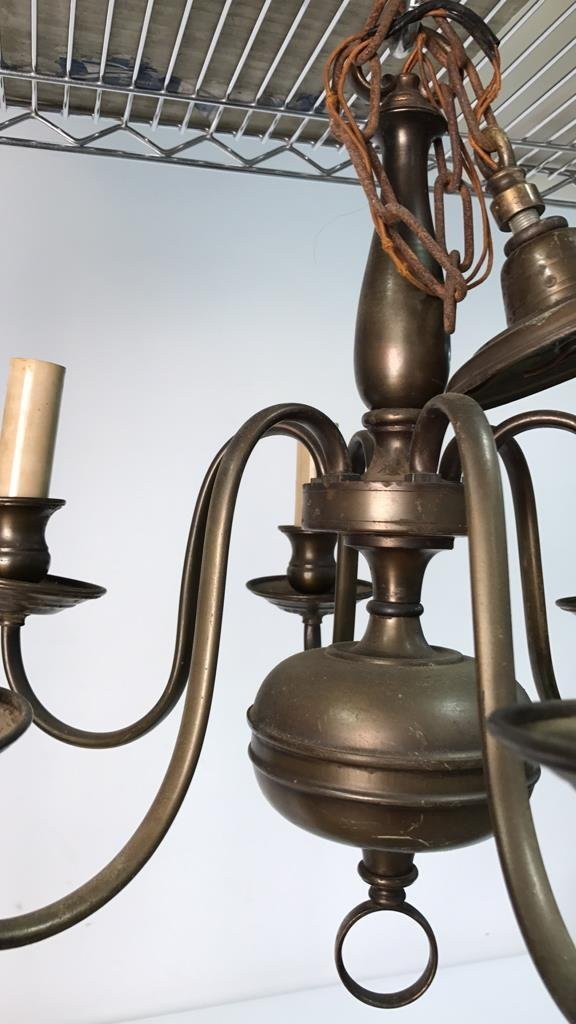Vintage Six Arm Brushed Bronze Chandelier - 2