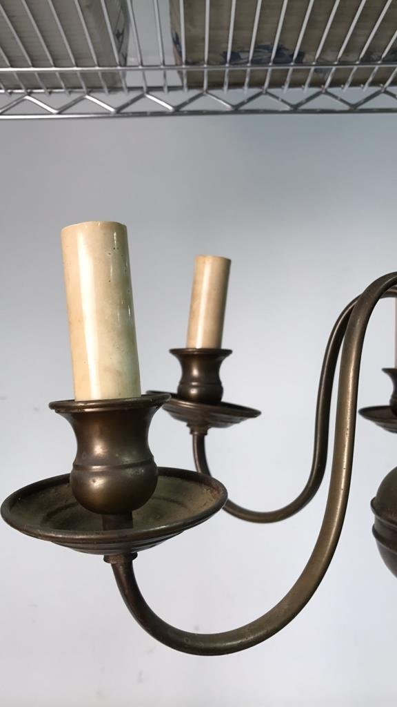 Vintage Six Arm Brushed Bronze Chandelier - 3