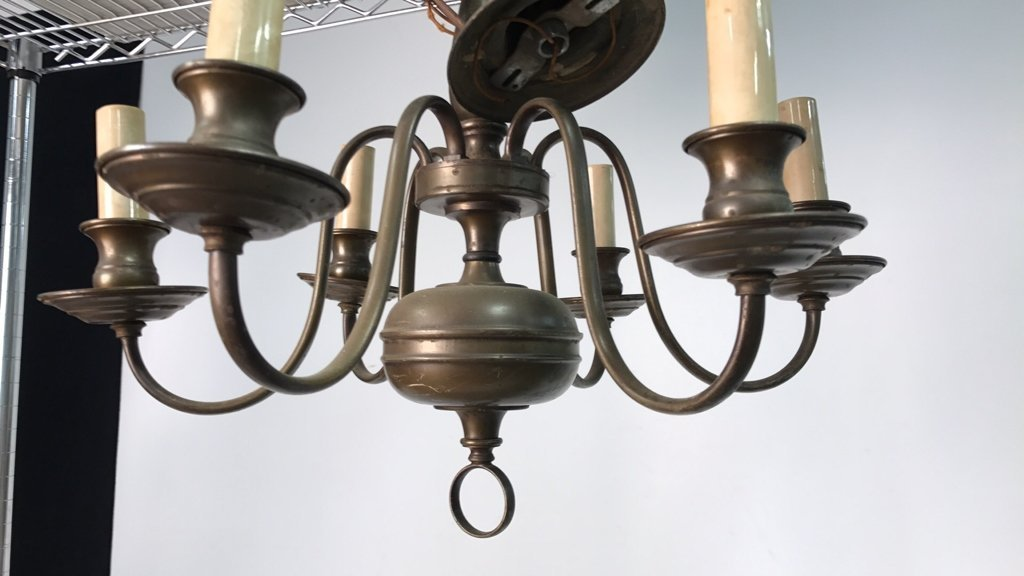 Vintage Six Arm Brushed Bronze Chandelier - 4