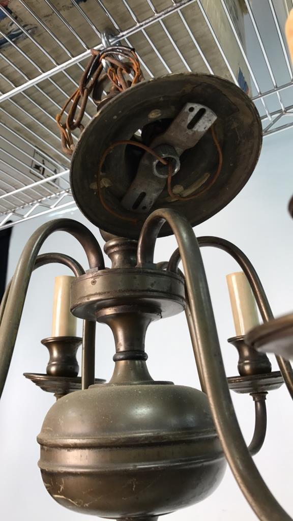 Vintage Six Arm Brushed Bronze Chandelier - 5