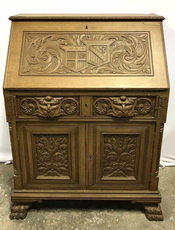 Antique Drop Leaf Secretary Ornately Carved