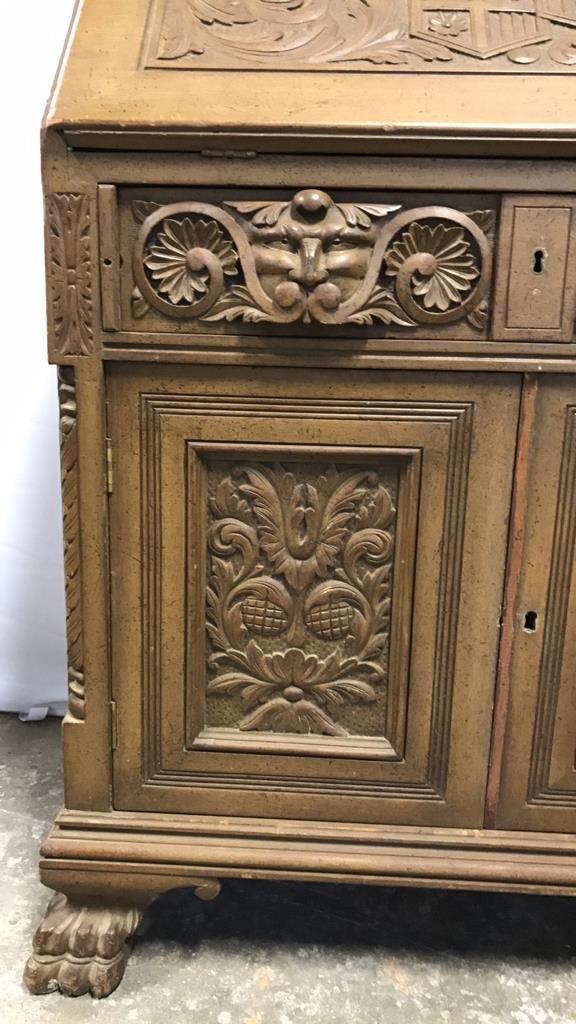 Antique Drop Leaf Secretary Ornately Carved - 2