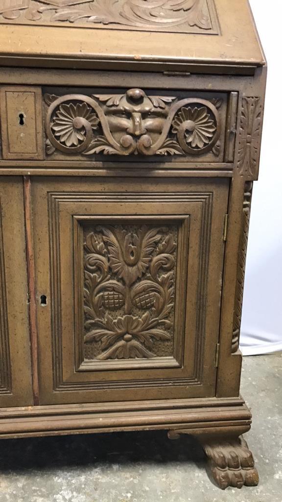 Antique Drop Leaf Secretary Ornately Carved - 3