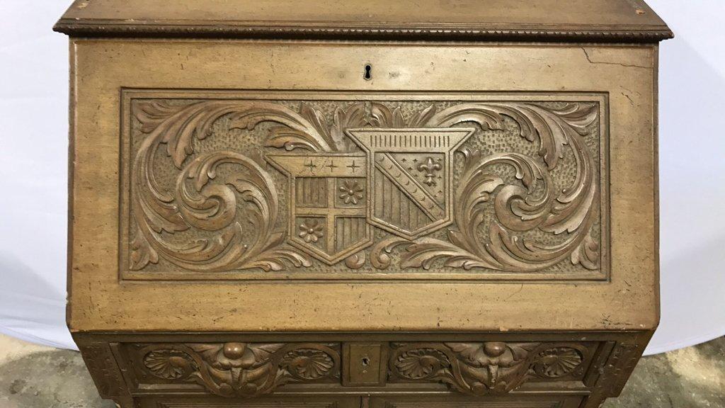 Antique Drop Leaf Secretary Ornately Carved - 4
