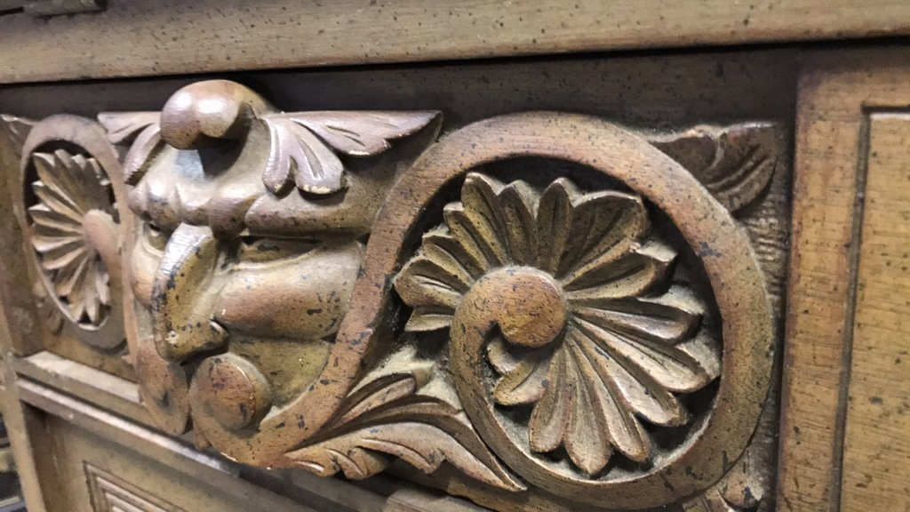 Antique Drop Leaf Secretary Ornately Carved - 8