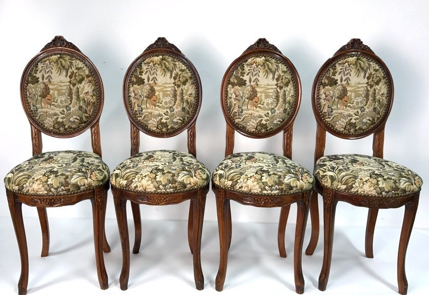 Set Four Antique Louis XVI Side Chairs