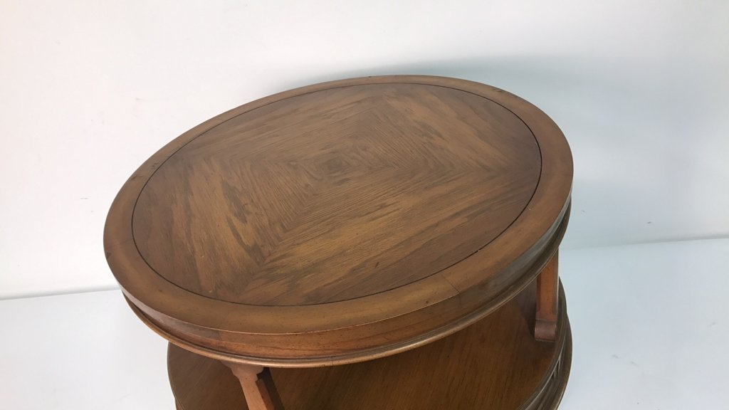 Round Two Tier Side Table Brass Feet - 3