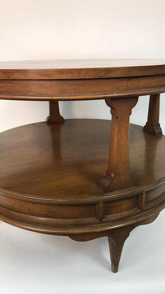 Round Two Tier Side Table Brass Feet - 4