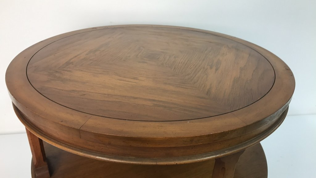 Round Two Tier Side Table Brass Feet - 5