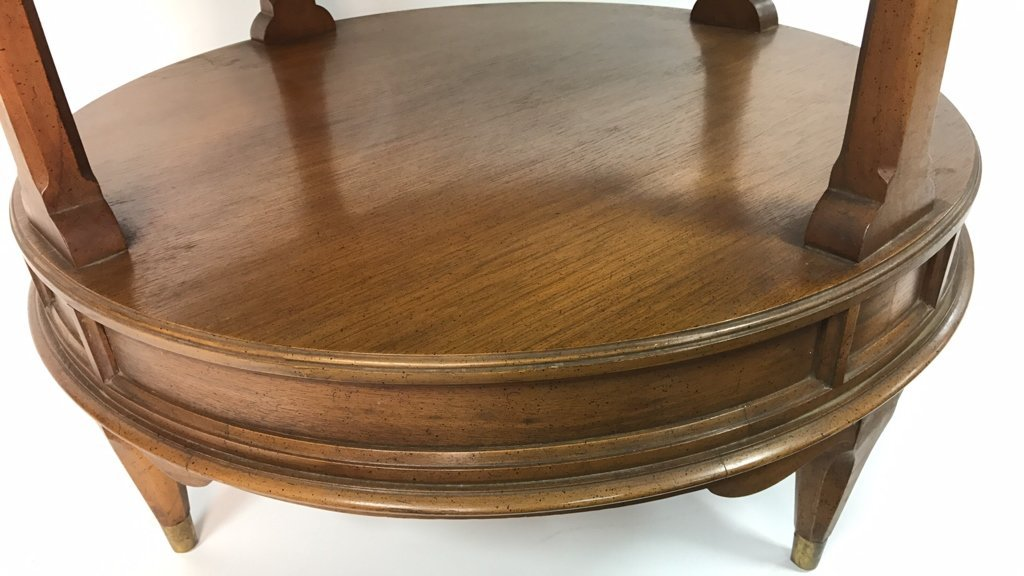 Round Two Tier Side Table Brass Feet - 6