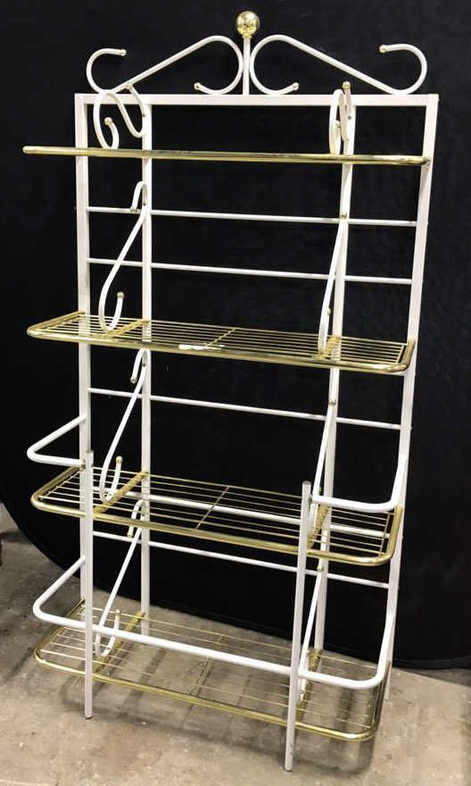 Brass and Metal Finish Bakers Rack