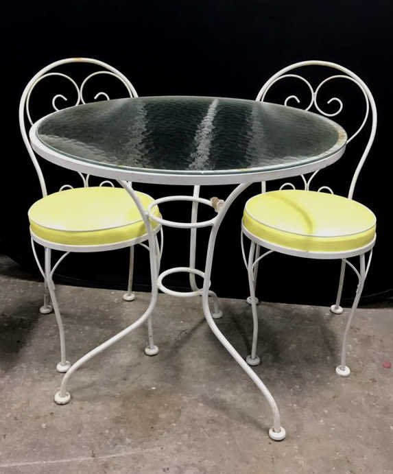 Vintage Tempered Glass Patio Set 2 Chairs