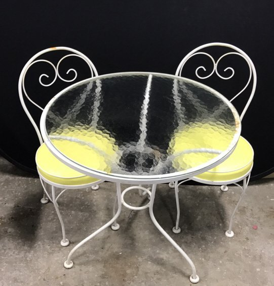 Vintage Tempered Glass Patio Set 2 Chairs - 2