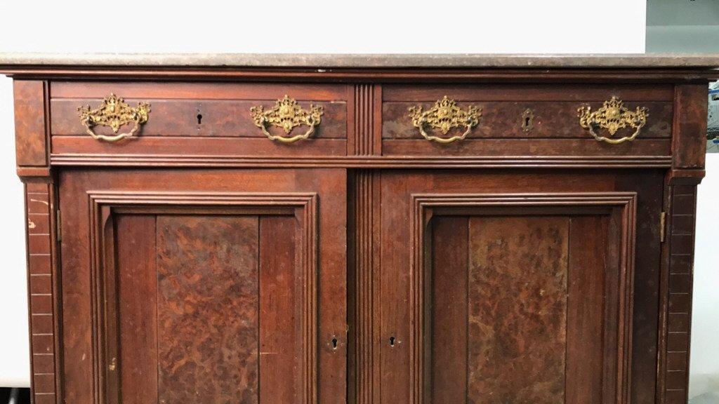 Antique Stone Top Buffet Storage Cabinet - 4