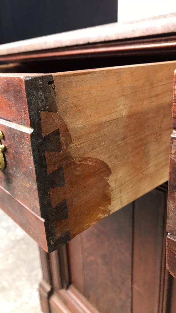 Antique Stone Top Buffet Storage Cabinet - 8