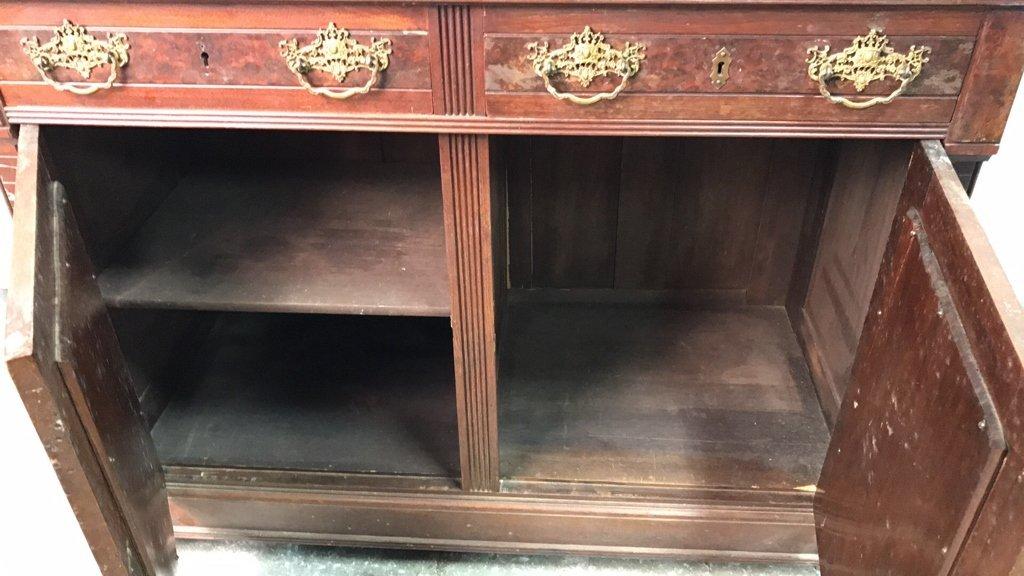 Antique Stone Top Buffet Storage Cabinet - 9