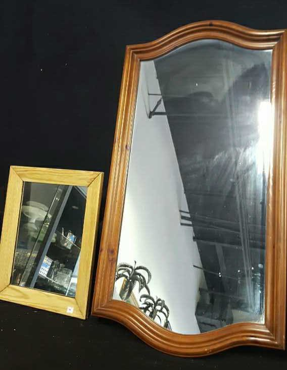 Two Vintage Wood Framed Mirrors