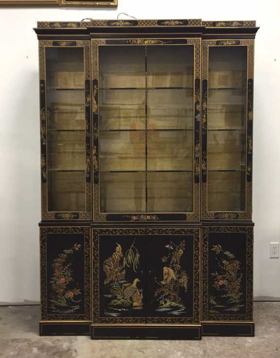 Vintage Asian Style Painted China Cabinet