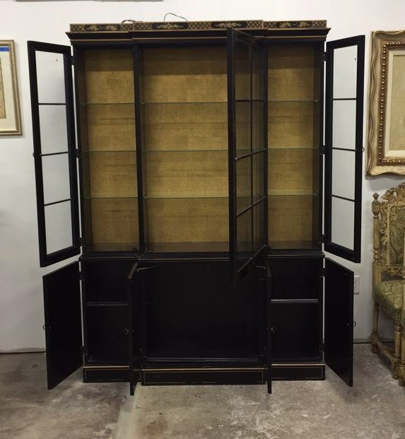 Vintage Asian Style Painted China Cabinet - 2