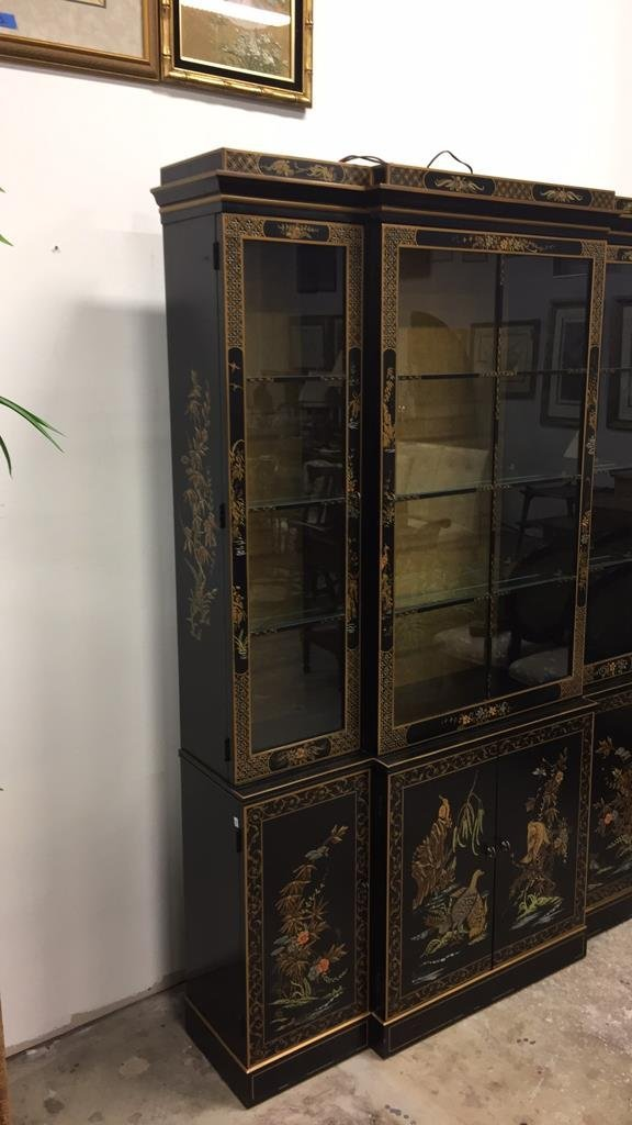 Vintage Asian Style Painted China Cabinet - 9
