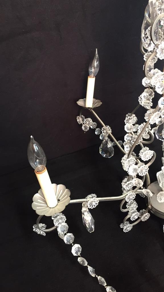 Vintage 6 Arm Branched Crystal Chandelier - 3