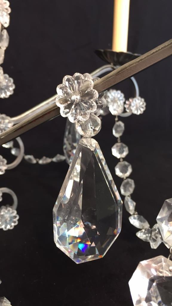 Vintage 6 Arm Branched Crystal Chandelier - 4