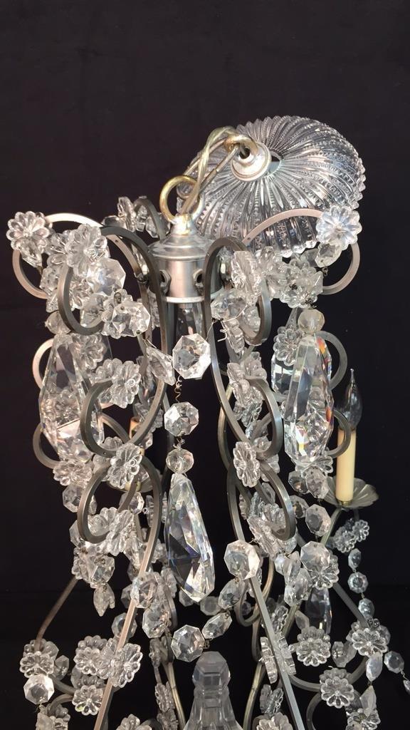 Vintage 6 Arm Branched Crystal Chandelier - 6