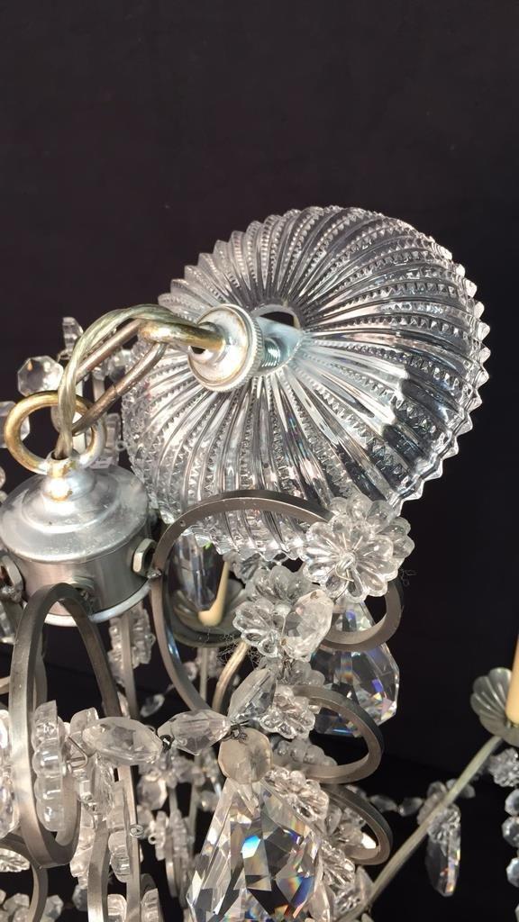 Vintage 6 Arm Branched Crystal Chandelier - 7
