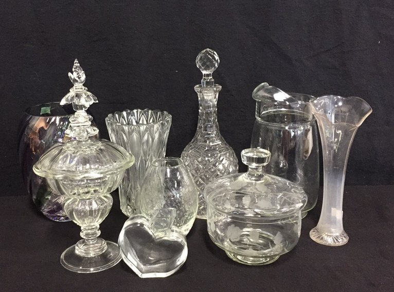 9 Piece Vintage Glass & Crystal Lot