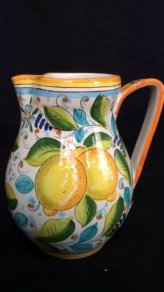 Italy Painted Pottery Pitcher Bird Cups - 2