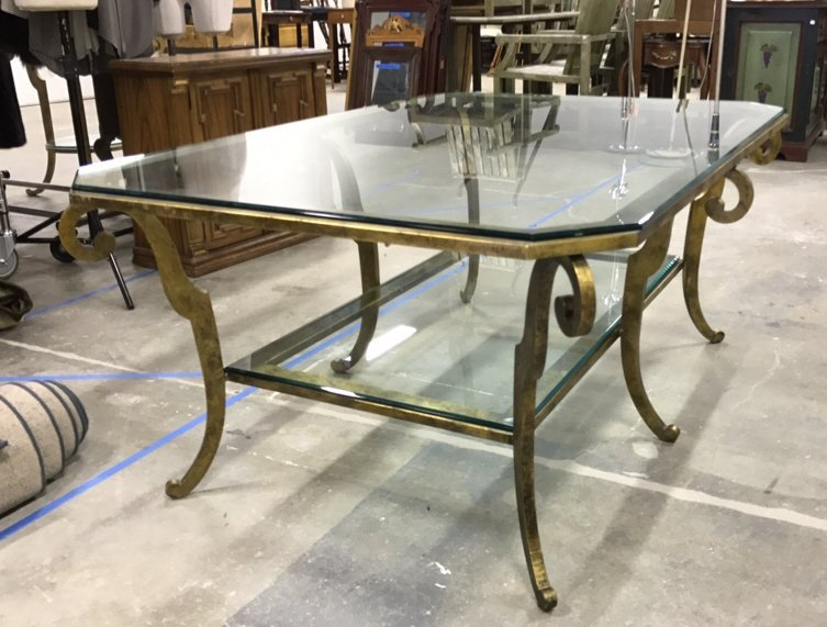 ETHAN ALLEN Two Tiered Glass Coffee Table