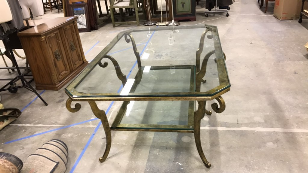 ETHAN ALLEN Two Tiered Glass Coffee Table - 3