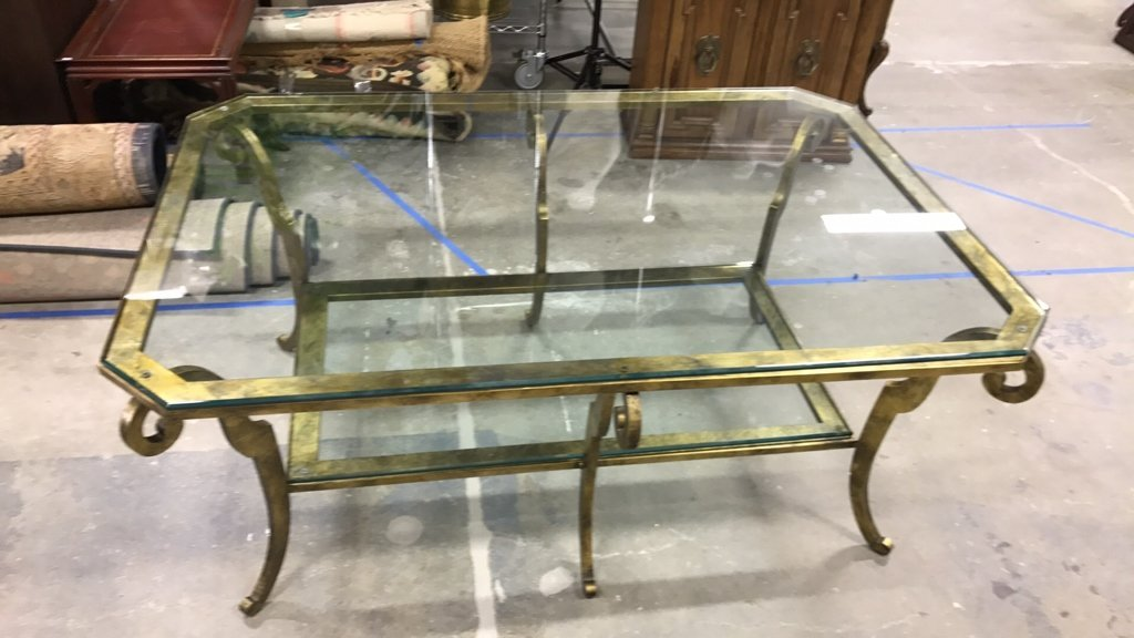 ETHAN ALLEN Two Tiered Glass Coffee Table - 4