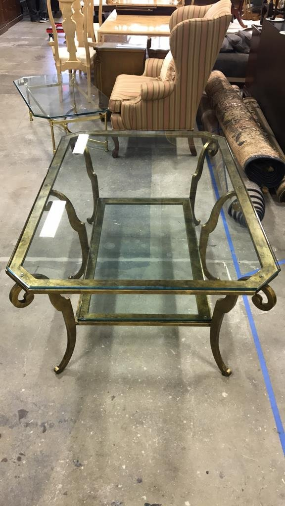 ETHAN ALLEN Two Tiered Glass Coffee Table - 5