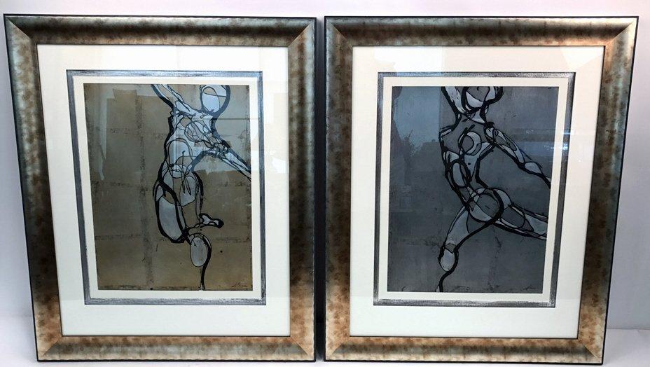 Pair ETHAN ALLEN Framed DANCERS Artwork