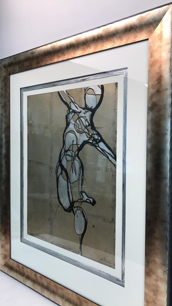 Pair ETHAN ALLEN Framed DANCERS Artwork - 2