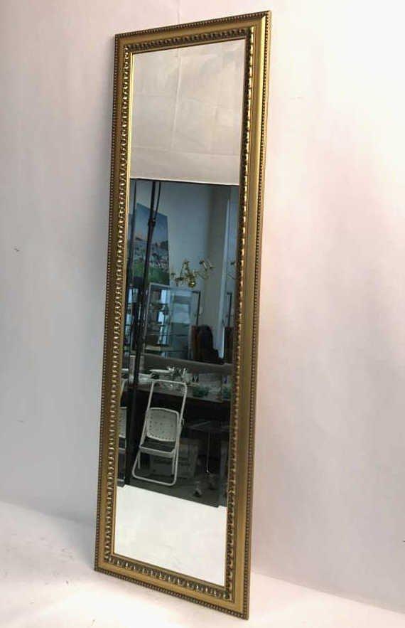 Gold Leaf Carved Standing Beveled Mirror Beaded