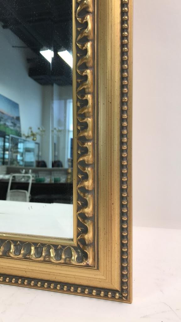 Gold Leaf Carved Standing Beveled Mirror Beaded - 2
