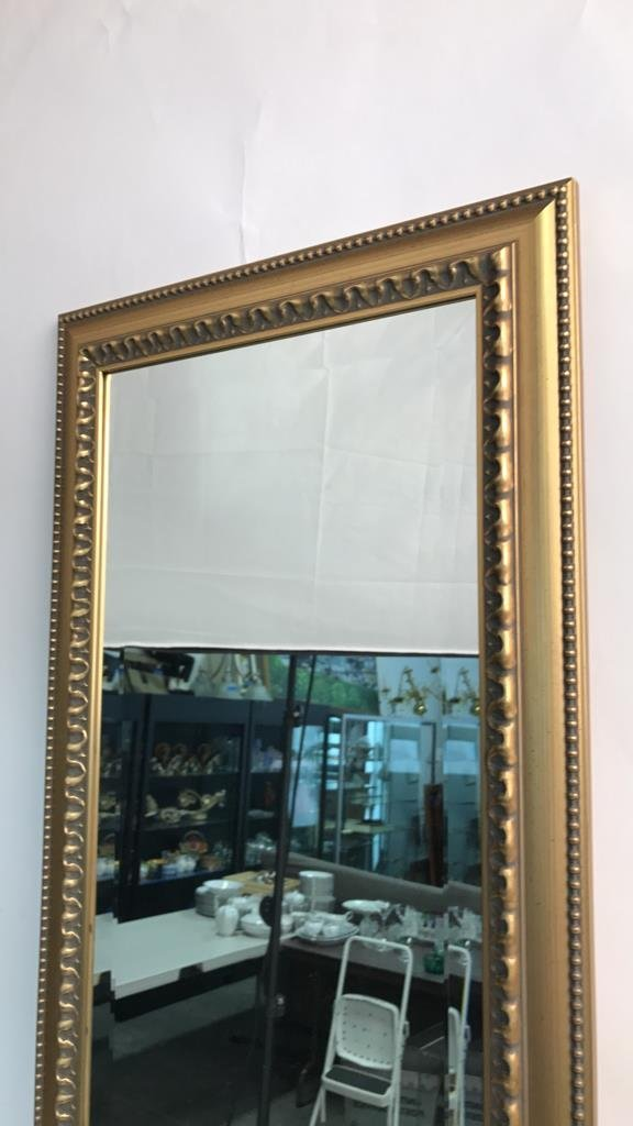 Gold Leaf Carved Standing Beveled Mirror Beaded - 3