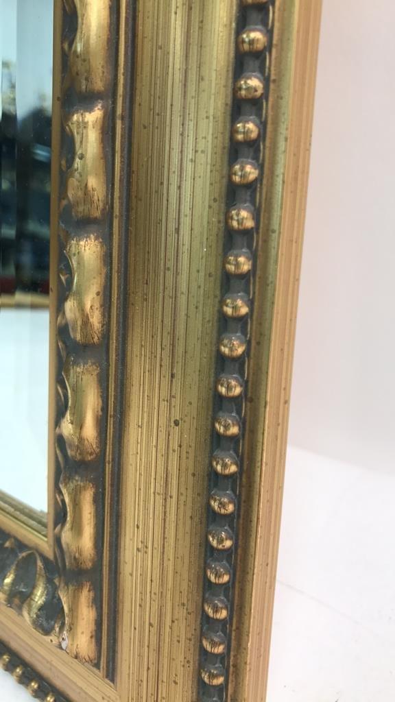Gold Leaf Carved Standing Beveled Mirror Beaded - 5