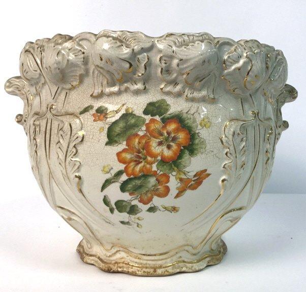 Antique Ceramic Planter Gold Leaf Trim