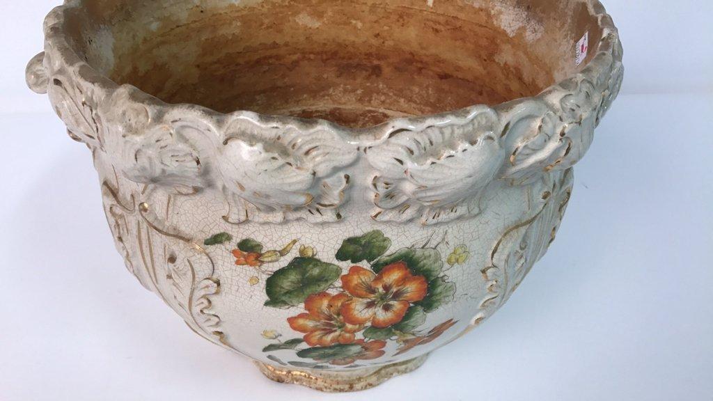 Antique Ceramic Planter Gold Leaf Trim - 3