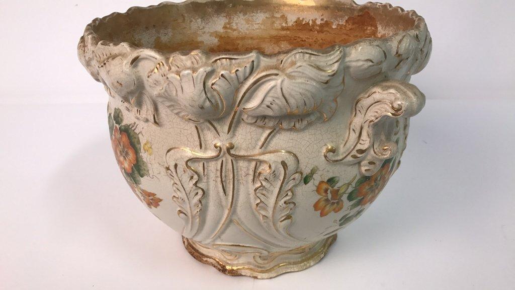 Antique Ceramic Planter Gold Leaf Trim - 4