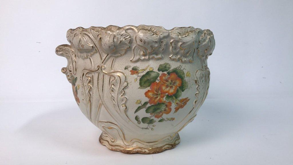 Antique Ceramic Planter Gold Leaf Trim - 5
