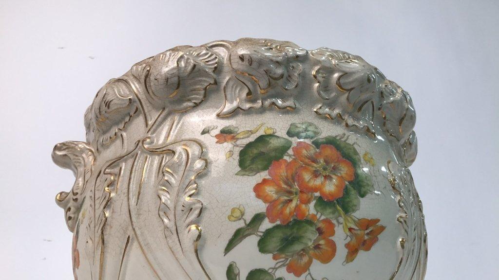 Antique Ceramic Planter Gold Leaf Trim - 6